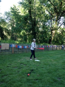 My mom at our Memorial Day Wiffle Ball game.  It gets intense.